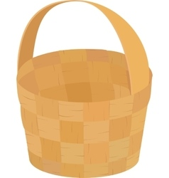 wooden wicker brown empty basket for picnic vector image