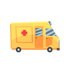 Yellow ambulance car emergency medical service vector