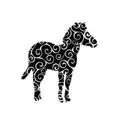 Zebra mammal color silhouette animal vector