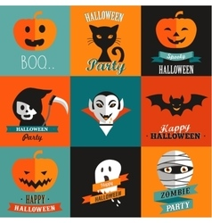 Halloween set of greeting card poster banners vector
