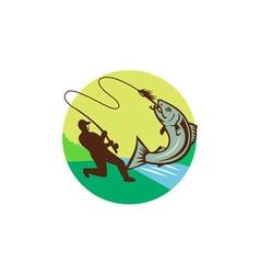 Fly Fisherman Hooking Salmon Circle Rero vector image