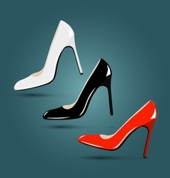 Luxury footwear women classic red black white vector