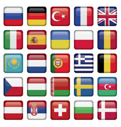 Europe icons squared flags vector
