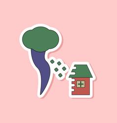 paper sticker on stylish background tornado vector image