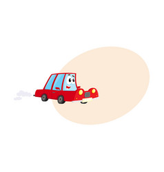 Cute and funny red car auto character hurrying vector