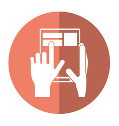 hand touch tablet web page button shadow vector image