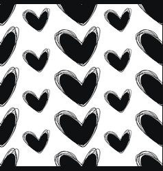 Cute doodle seamless pattern heart hand drawings vector