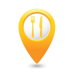 Knife and fork2 map pointer yellow vector