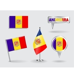 Set of andorran pin icon and map pointer flags vector