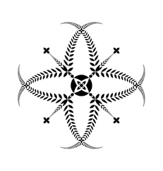 Laurel wreath tattoo cross sign on white vector