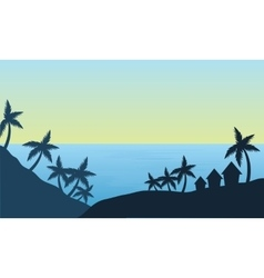 View of palm in the beach silhouette vector