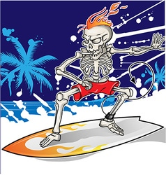 Skeleton surfer on summer sea background vector