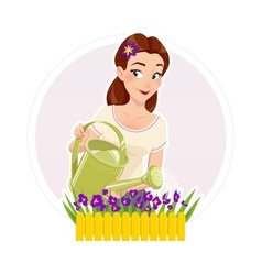 Gardening beautiful girl vector image
