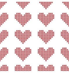 Seamless pattern with cross-stitch hearts vector