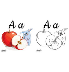 Apple alphabet letter a coloring page vector