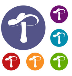 Autumn mushroom icons set vector