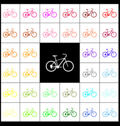Bicycle bike sign felt-pen 33 colorful vector