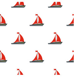 Boat with red sails pattern seamless vector