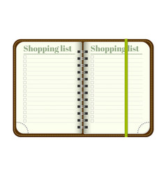 Book with blank shopping list empty space for vector