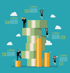 business people try to climbing money mountain vector image vector image
