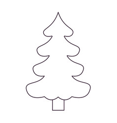 christmas tree pine with trunk silhouette on white vector image