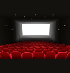 cinema auditorium with red seats and white blank vector image