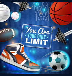 Colorful poster with sport inventory vector