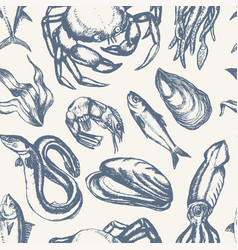 delicious seafood - hand drawn seamless pattern vector image vector image
