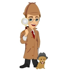Detective boy with dog holding magnifying glass vector