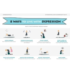 Eight ways to live with depression vector