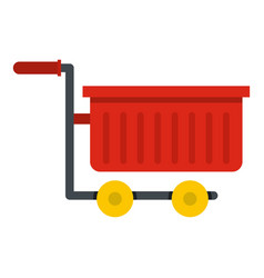 Empty red plastic shopping trolley icon isolated vector