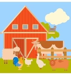 Farm banner with flat animals1 vector image vector image