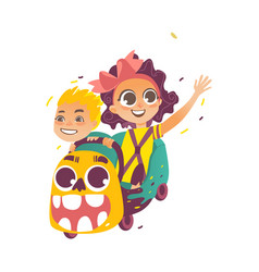 flat children riding on roller coaster vector image