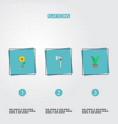 flat icons axe flowerpot plant and other vector image vector image