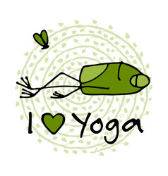 Funny yoga frog sketch for your design vector