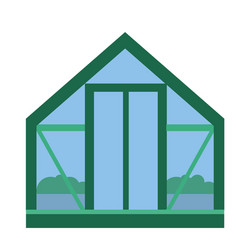 Glass greenhouse with fresh organic agriculture vector