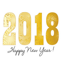 gradient gold 2018 happy new year vector image vector image