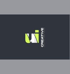 green letter ui u i combination logo icon company vector image