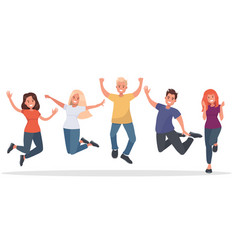 group of young people jumping on white background vector image