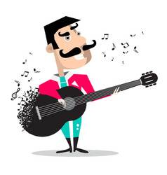 guitar player singing song funky mexican vector image