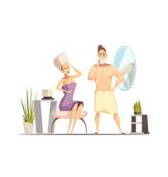 Hair removal depilation family cartoon vector