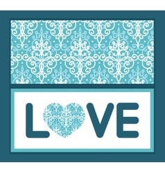Light blue swirls damask love text frame vector