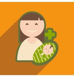 Modern flat icon with long shadow mother and child vector