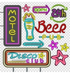 Neon signboard disco club beer pub design flat vector