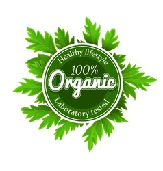 Organic round logo sign label vector image