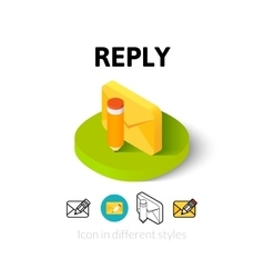 Reply icon in different style vector