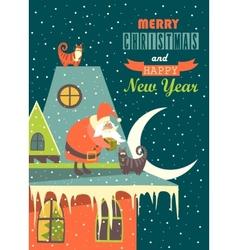 Santa claus gives christmas gift to a cat vector