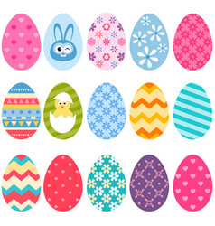 Set of colorful easter eggs icons vector