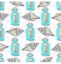 Shells seamless pattern with message in a bottle vector