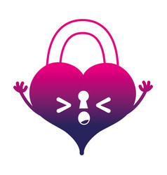 Silhouette sleeping heart padlock kawaii personage vector